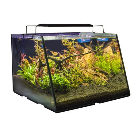 Lifegard Full-View 7 Gallon Aquarium with LED Light, Built-in Back Filter, 100 Watt Preset Heater, Magnetic Algae Scrub Brush, LED Thermometer, and Net