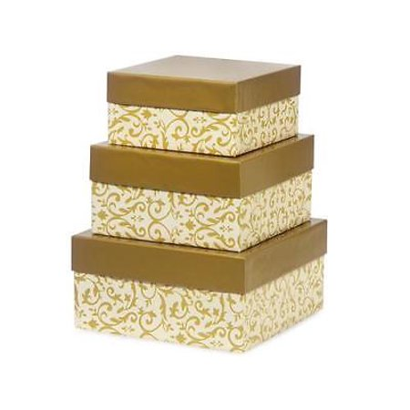 1 Unit Florentine Tapestry Gold Nested Box Large Square Gift Boxes Unit pack - 1 Nest Box