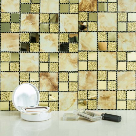 Efavormart 10 Pack Self-adhesive Gold Backsplash Peel & Stick Marble Glass Mirror Mosiac Wall Tile - 12