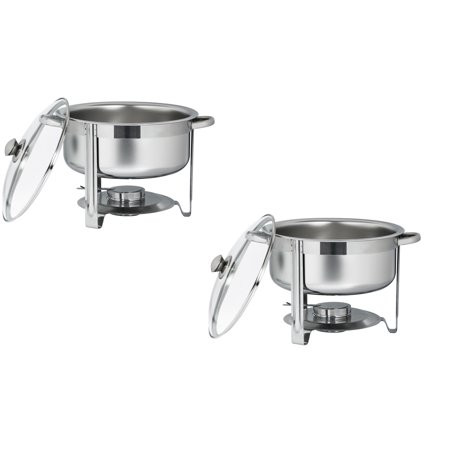 - Zimtown (Pack of 2) 7.5L Round Stainless Steel Chafing Dishes Buffet Set