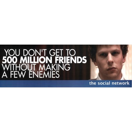 The Social Network 500 Million Friends Facebook Movie Poster 36X12