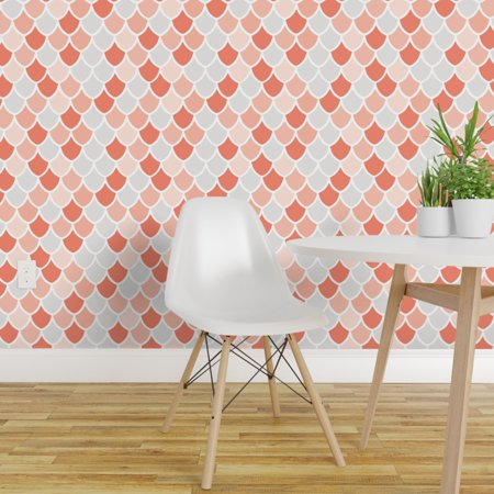 Peel and Stick Removable Wallpaper Coral Scales Mermaid Pink White Sca