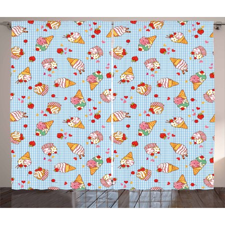 Ice Cream Decor Curtains 2 Panels Set, Sweet Cherries on Checkered Tartan Motif with Hearts Love Valentines Print, Window Drapes for Living Room Bedroom, 108W X 90L Inches, Multicolor, by - Personalized Love Heart Sweets