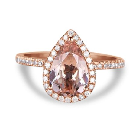 Huge 3 Carat Pear Cut Morganite and Diamond Halo Engagement Ring in Rose (3 Carat Emerald Cut Diamond Ring For Sale)