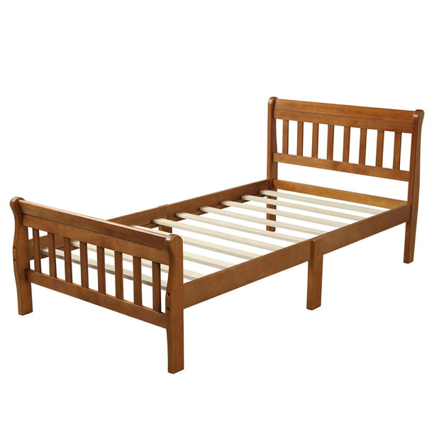 Twin Bed Frame with Headboard&Footboard, Wood Twin Platform Bed Frame w/Strong Wooden Slat, No Box Spring Needed, Great for Boys, Girls, Kids, Teens, Adults, Modern Bedroom Furniture, Oak, W9806