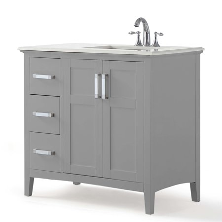 Brooklyn + Max Wilshire 36 inch Contemporary Bath Vanity in Warm Grey with Bombay White Engineered Marble Extra Thick Top