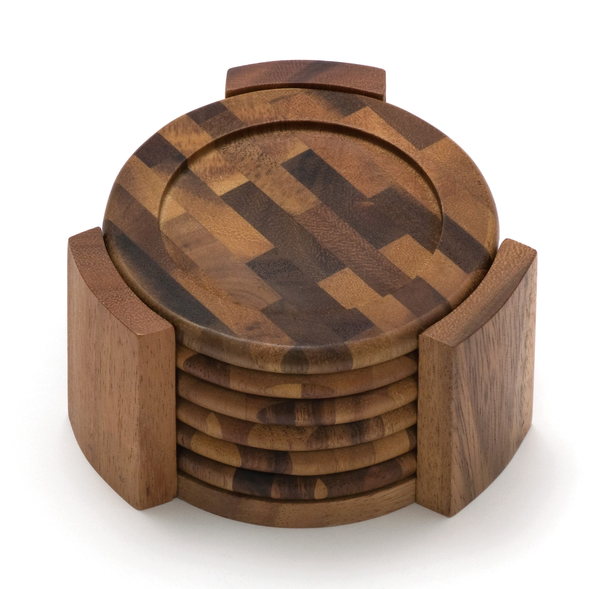 Lipper Acacia Coaster Set with End Grain Stand (Set of 6)
