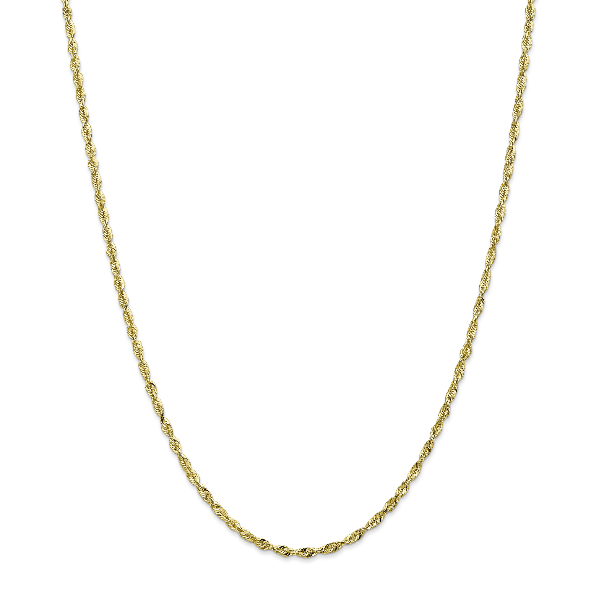 Roy Rose Jewelry 10K Yellow Gold 2.55mm Diamond-cut Extra-Lite Rope Chain Anklet Bracelet ~ Length 9'' inches