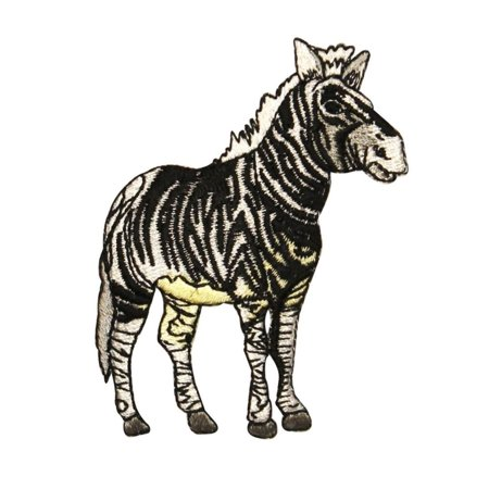ID 0638 Realistic Zebra Patch African Safari Zoo Embroidered Iron On Applique