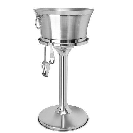 BirdRock Home Metal Beverage Tub with Stand, Scoop and Bottle Opener   18/8 Stainless Steel Double Wall Ice Beverage Cooler   Drink Beer Wine Ice Bucket with Handles   House Party Events Container Bin ()