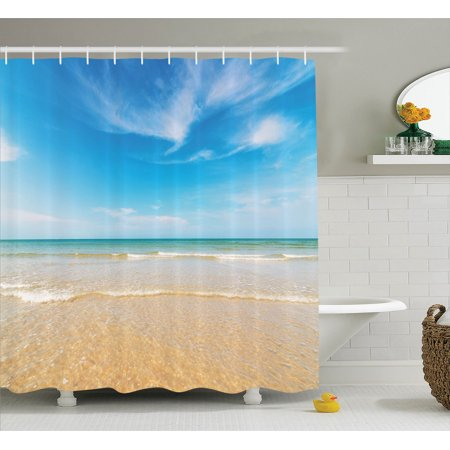 Ocean Decor Shower Curtain Set, Sea And Sky Landscape At The Beach In Tropical Exotic Fantastic Hawaiian Caribbean Lands, Bathroom Accessories, 69W X 70L Inches, By Ambesonne