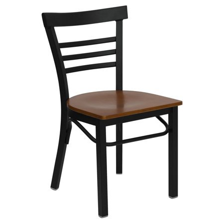 Flash Furniture HERCULES Series Black Ladder Back Metal Restaurant Chair, Wood Seat, Multiple