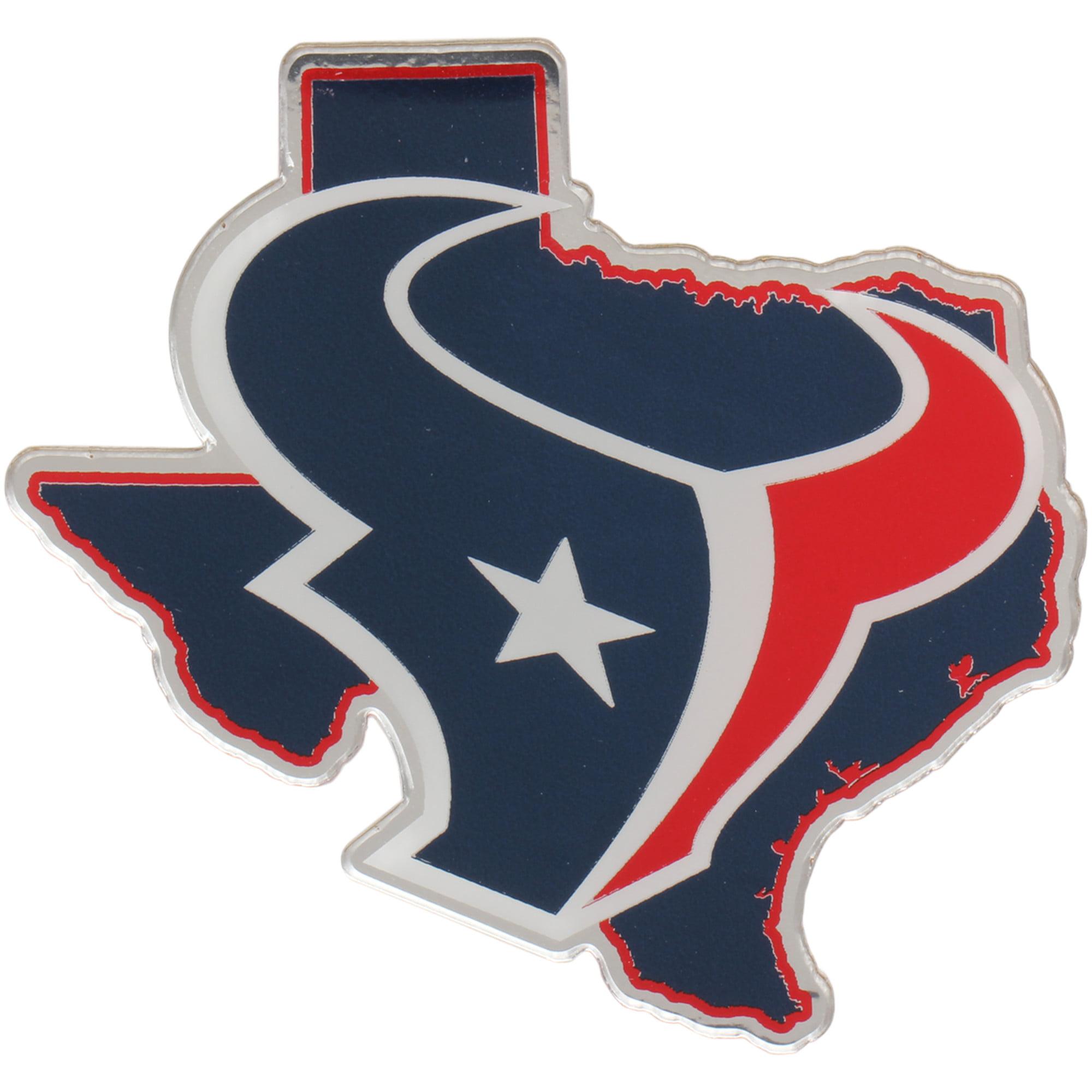 Houston Texans State Shape Acrylic Metallic Auto Emblem - No Size