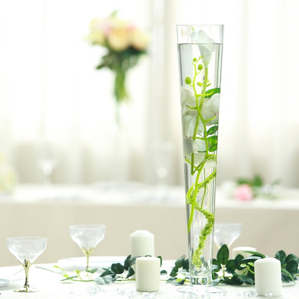 Balsacircle Clear 6 Pcs 24 Tall Glass Trumpet Vases Wedding Party Centerpieces Flowers Home Decorations Bulk Supplies Walmart Com Walmart Com