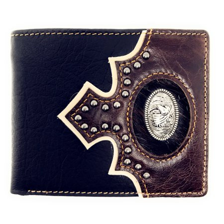 Western Genuine Leather Metal Horse Concho Cowhide Mens Bifold Short (Hide Concho)