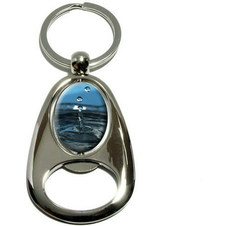 Drop of Water, Droplets Rain Raining, Chrome Plated Metal Spinning Oval Design Bottle Opener Keychain Key Ring