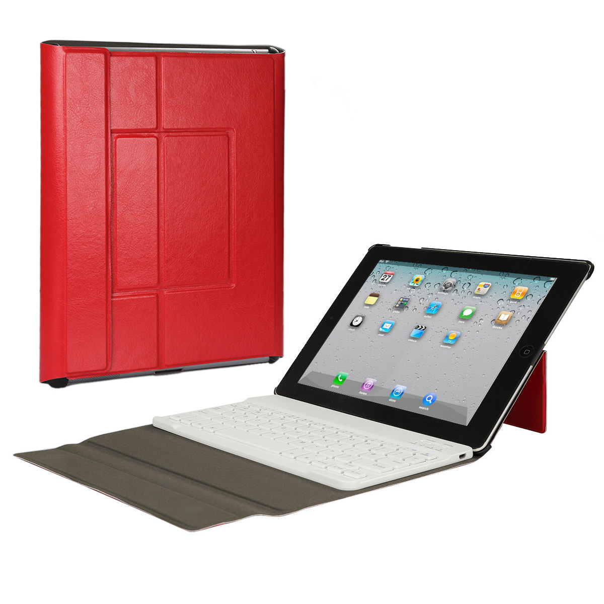 iPad 2/3/4 Bluetooth Keyboard Case, CoastaCloud Bluetooth Ultra Slim Removable Smart Shell Stand Cover with Magnetic Detachable Universal Wireless Keyboard for Apple iPad 2 3 4 (Red)