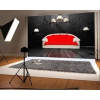 MOHome Polyster 7x5ft Interior Backdrop Fancy Red Sofa White Lamps Grunge Blurry Wallpaper Rustic Wood Floor Photography Background Kids Children Adults Photo Studio Props