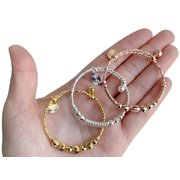 American Designs 14K Rose Gold, Yellow Gold, Silver Plated Bangle 3 Bracelet Set Expandable Adjustable Baby Kids Jewelry