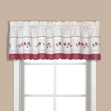 gingham red kitchen curtain