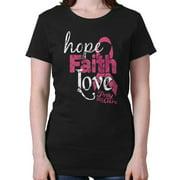 Hope Faith & Love Breast Cancer Awareness Courage Ladies Tee