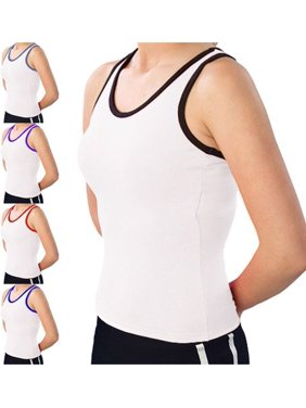 423f1afc68 Product Image Pizzazz womens White Color Trim Racerback Dance Cheer Tank Top  2T-16