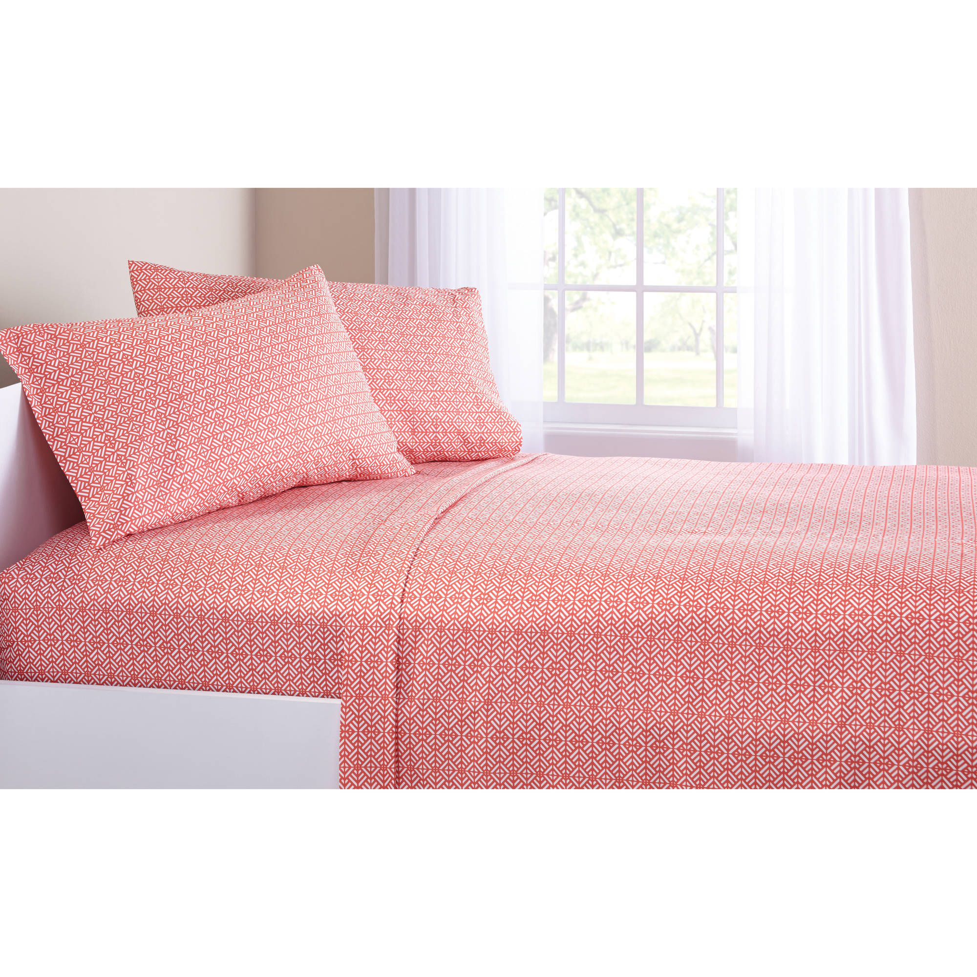 Mainstays Coral Damask Bed in a Bag Bedding Set Walmart
