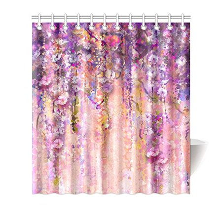 MKHERT Abstract Spring Flowers Watercolor Wisteria Blossoms Painting Waterproof Polyester Fabric Shower Curtain Bathroom Sets Home Decor 66x72 Inch