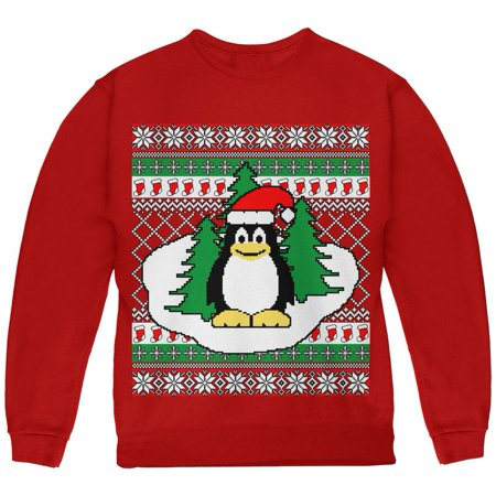 Penguin on Ice Ugly Christmas Sweater Youth Sweatshirt - Penguin Christmas Sweater