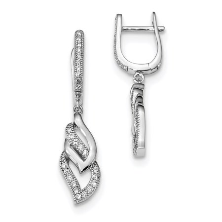 Sterling Silver & CZ Brilliant Embers Dangle Post Earrings QMP1211 - image 2 of 2
