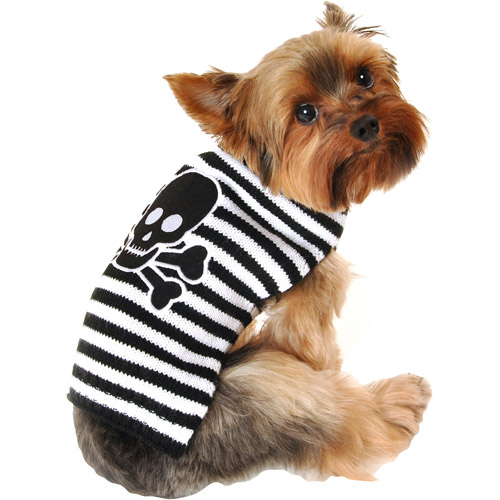 Simply Dog Striped Skull Dog Sweater, Black, (Multiple Sizes Available)