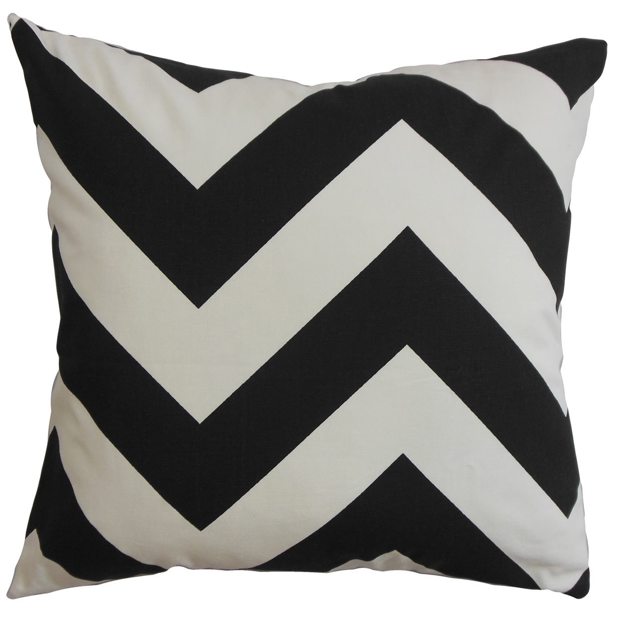 The Pillow Collection Eir Zigzag Euro Sham Black White