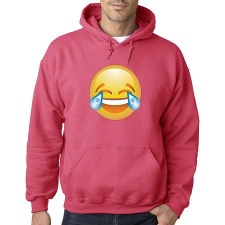 Trendy USA 1034 - Adult Hoodie Crying Laughter LOL LMAO Emoji Tears Of Joy  Sweatshirt Small Heliconia