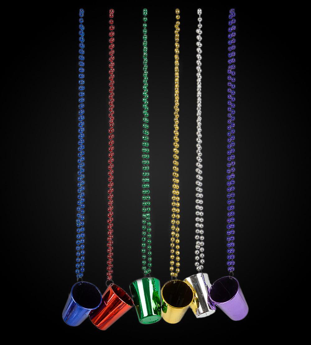 "Lumistick 33"" Assorted Metallic Birthday Party Shot Glass Beaded Necklace, 1 piece"