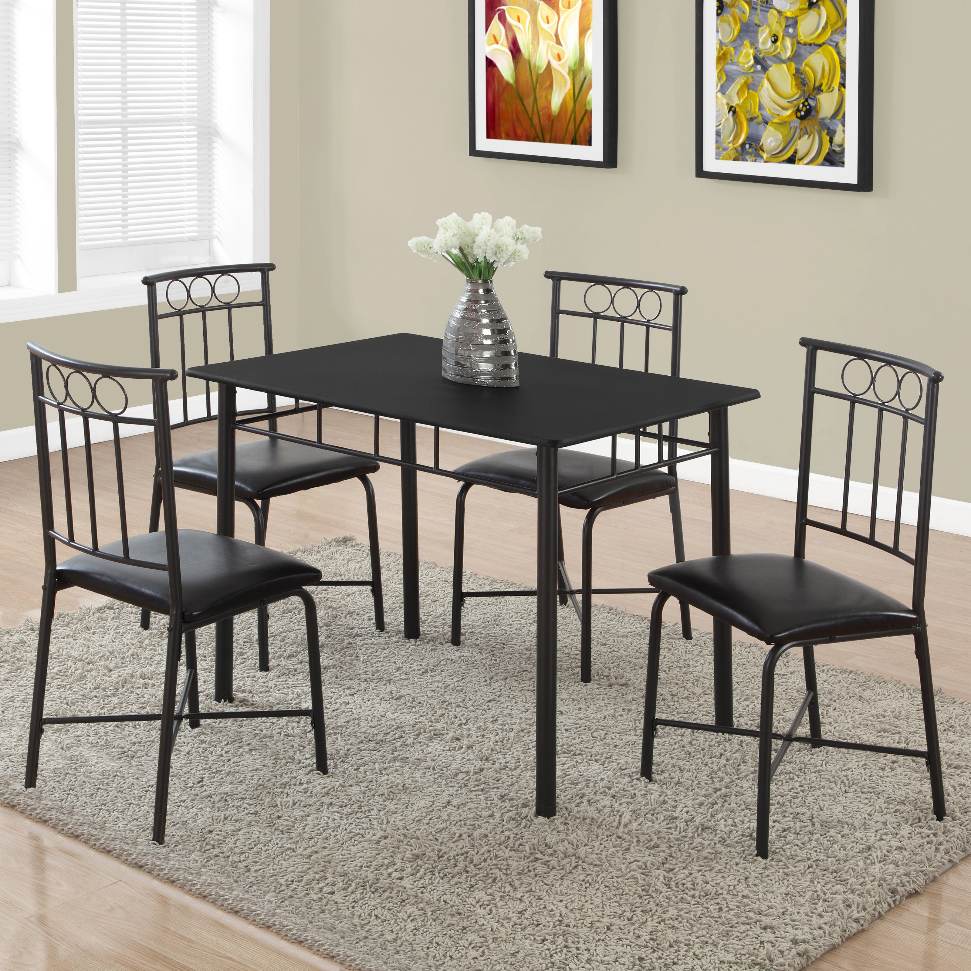 Genial Monarch Dining Set 5Pcs Set / Black Metal And Top