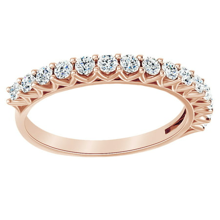 Round Cut White Natural Diamond Anniversary Band Ring In 14K Solid Rose Gold (0.5 Ct), Ring Size-6