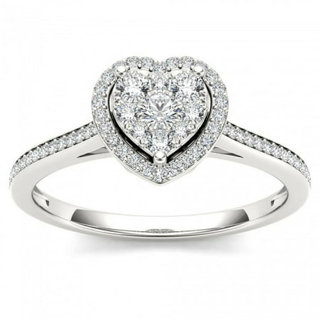 Heart Shaped Diamond Solitaire Rings - 1/4ct TW Diamond 10K White Gold Heart Shaped Cluster Halo Engagement ring