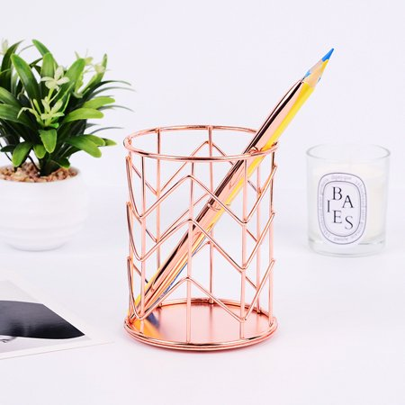 Pro Space 2-Pack Pencil Holder Wire Mesh Makeup Brush Holder Desk Organizer,Rose Gold