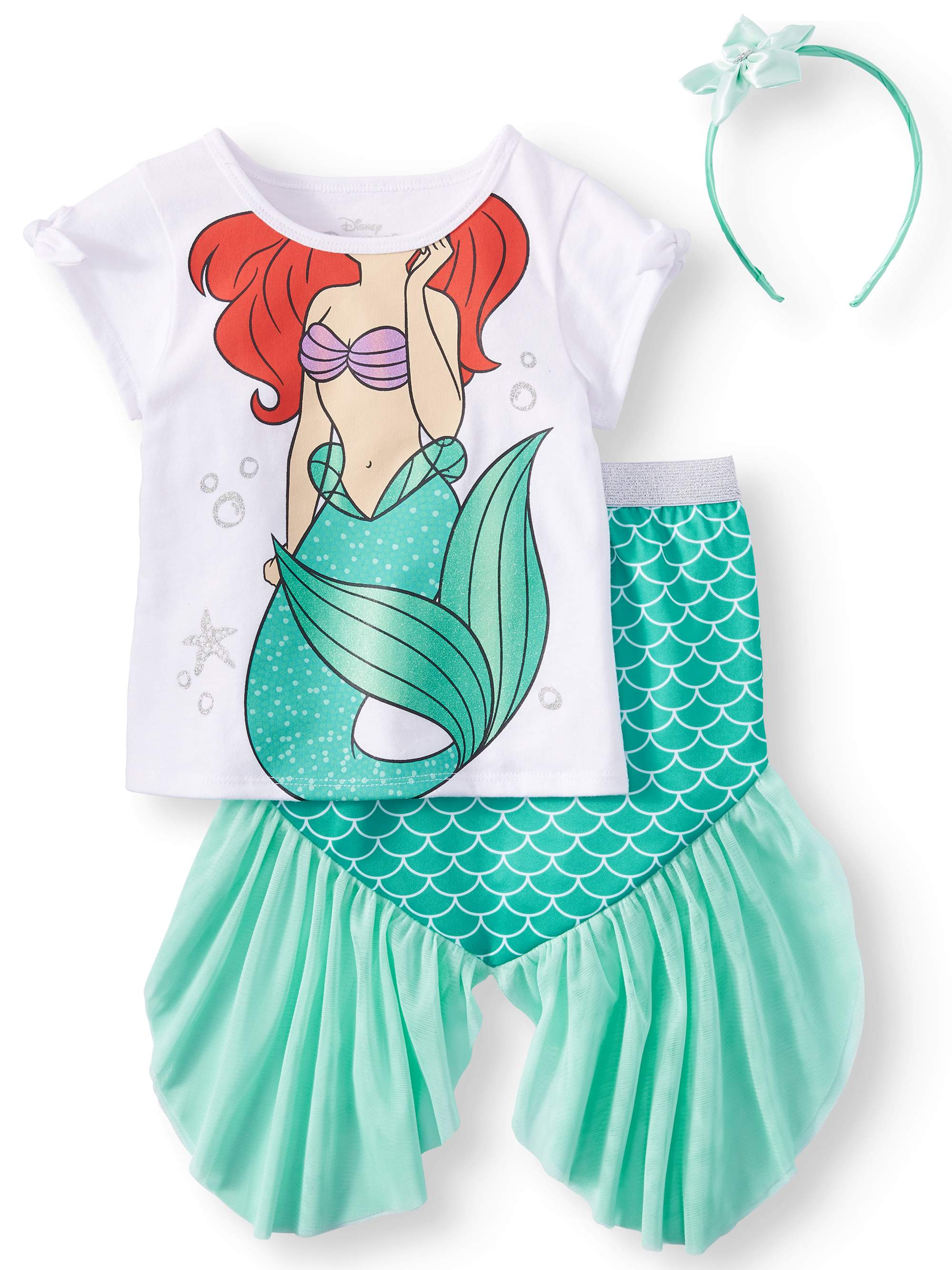 15b92810d6 The Little Mermaid T-Shirt, Tutu Skirt, & Headband, 3pc Outfit Set ...