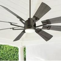 "72"" Casa Vieja Windmill Gray Oak and Bronze LED Ceiling Fan"
