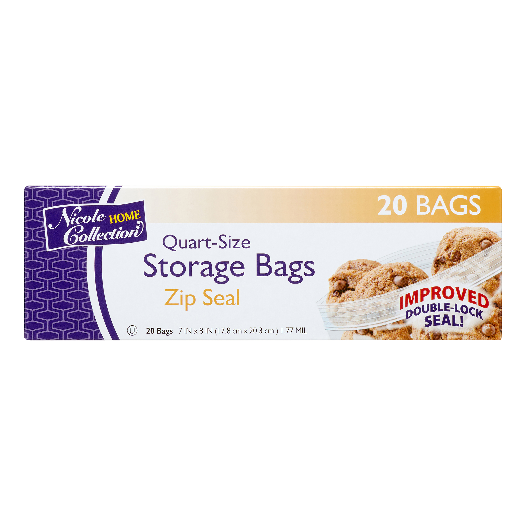 Nicole Home Collection Zip Seal Storage Bags, Quart, 20 Ct