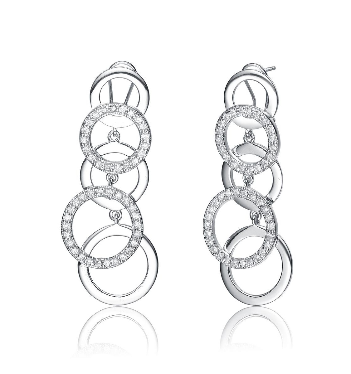 Rozzato Sterling Silver Quad Circle Earrings