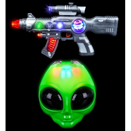 Mozlly Rhode Island Novelty LED Light-Up Flip Green Alien Costume Mask and Rhode Island Novelty Light-Up Spin Ball Gun Blaster Costume Accessories and Costume Accessories and Pretend - Spin Halloween Nyc