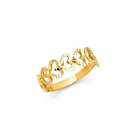 14K Solid Gold Hollowed Hearts Ring, Size 8.5