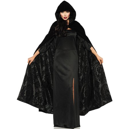 Deluxe Adult Black Velvet Satin Flocked Gothic Hooded Vampire Halloween - Black Velvet Hooded Cape