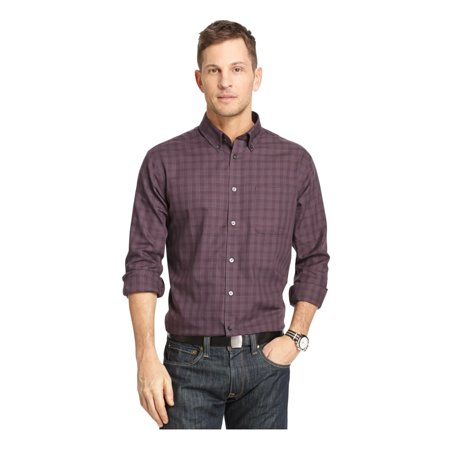 Van heusen mens no iron windowpane button up dress shirt for Mens no iron dress shirts