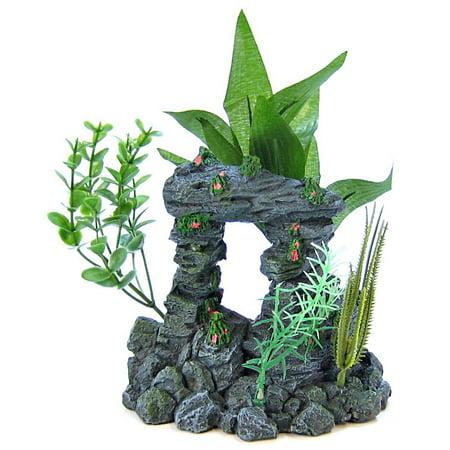 Arch Aquarium Ornament (Blue Ribbon Pet Products Blue Ribbon Rock Arch with Plants Aquarium Ornament Medium - (6