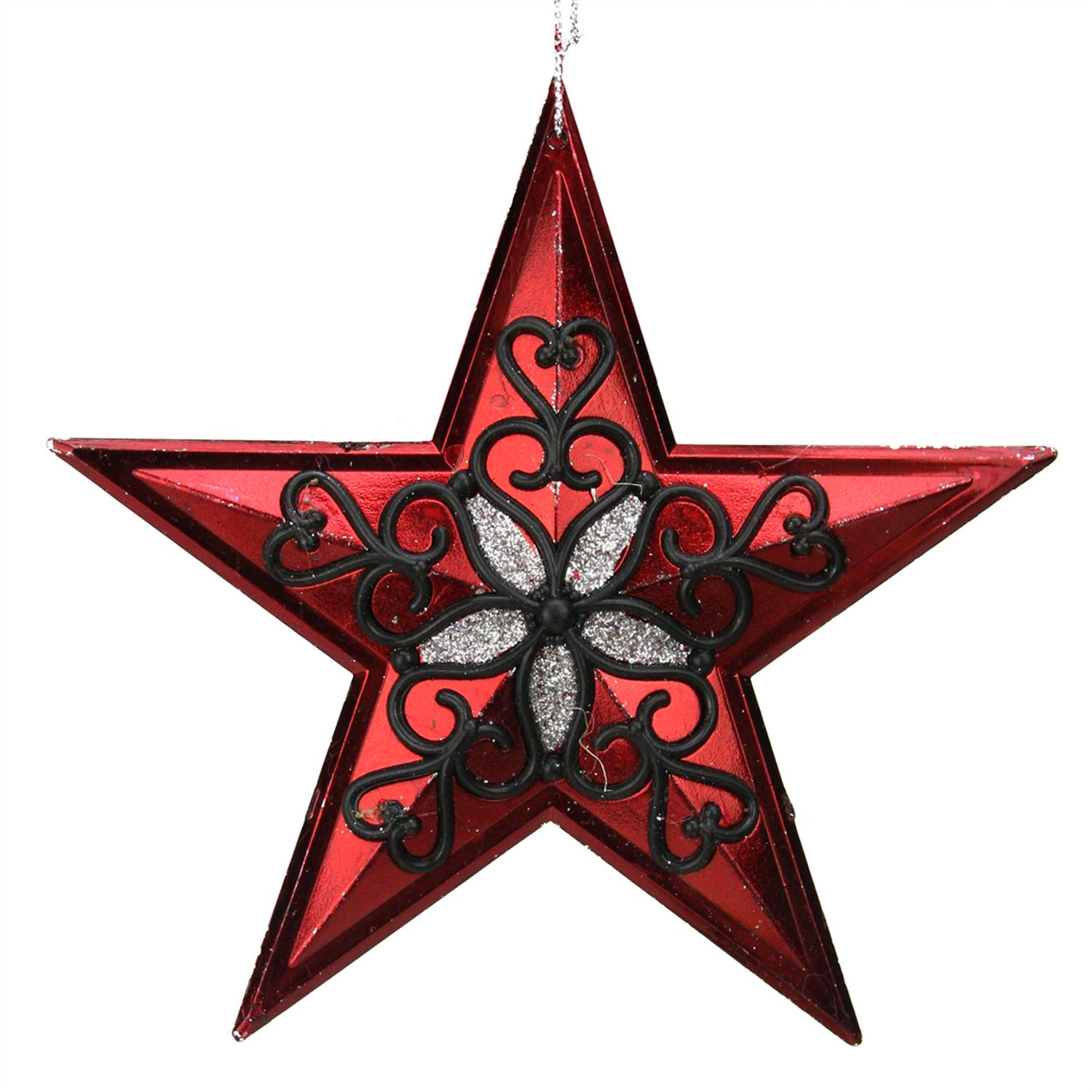 "5"" Red and Silver Star with Black Hearts Christmas Ornament"