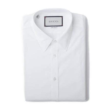 GUCCI Men's Cotton Classic Fit Button Front Dress Shirt White