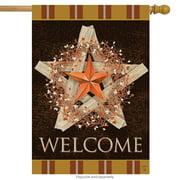 "Autumn Barnstar Primitive House Flag Welcome Pip Berries Fall 28 ""x 40"""